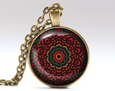 Unique Ornament jewelry. Amazing Mandala pendant with a chain or a leather cord. Gorgeous Esoteric necklace in bronze or silver finish. SIZE: 25 mm (1