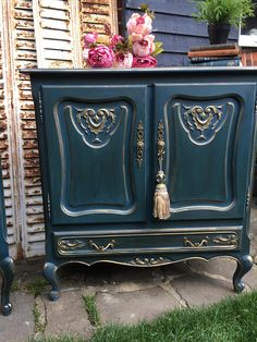 Stunning Carved French Pair of cupboards cabinets - blue #Ad