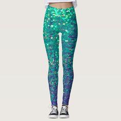 fabulous mermaid faux aqua blue sequin leggings