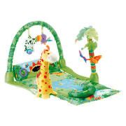 Fisher Price 1-2-3 Musical Rainforest Gym The 1-2-3 Musical Rainforest Gym features 3 modes of play from Lay under play, to Tummy time and Sit at play for the various stages of your babys development. This musical gym has various textures and http://www.comparestoreprices.co.uk/soft-toys/fisher-price-1-2-3-musical-rainforest-gym.asp