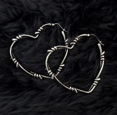 b61a45501b54fd Souvenir Jewelry · Products · R2S: Small Barbed Wire Heart Hoop Earrings