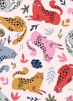 Cute and wild cats ^_^ meow!  Now this seamless pattern is available on  Shutterstock.
