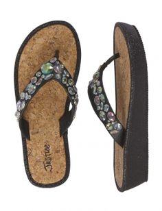 Rhinestone Cork Wedge Sandals