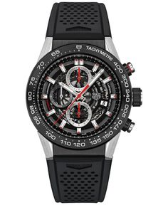 Tag Heuer Men's Swiss Automatic Chronograph Carrera Calibre Heuer 01 Black Rubber Strap Watch 45mm CAR2A1Z.FT6044