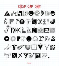 drop cap one font, outside the line