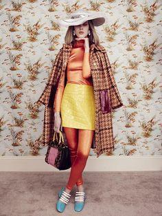 Orange Crush: Giedre Kiaulenaite by Elena Rendina for Sunday Times Style Magazine September 2015 - Miu Miu Fall 2015 Orange Crush, Couture, Miu Miu, Madrid, Fashion Shoes, Crushes, Shirt Dress, Lady, Coat
