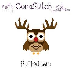 Christmas Owl Cross Stitch pattern by ComaStitch, $5.00
