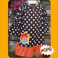 """Brown Polka Dot Turkey Dress  Price: $24.99 With Free Standard Shipping  Options: 2T-3T, 3T-4T, 4-5, 5-6, 6-7 This is a beautiful boutique dress with orange ruffle. Polka dot print on a 3/4 sleeve and with an applique Turkey on the side. To purchase, comment """"Sold and option (eg. size/color)"""" Register here to get your invoice: https://www.soldsie.com/pin/571388"""
