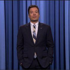 Jimmy Fallon-blue suit-white shirt-Light blue striped tie-Tonight show-E223 - Copy Blue Suit Looks, Wednesday Outfit, Tonight Show, Jimmy Fallon, Blue Stripes, Light Blue, Suit Jacket, Tie, Suits
