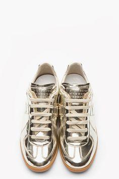 MAISON MARTIN MARGIELA Metallic Gold leather low-top Sneakers