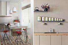 Materiales para el revestimiento de frentes de cocina Backsplash, Table, Furniture, Ideas, Home Decor, Granite, Tiny House Kitchens, Kitchen Styling, Modern Kitchens