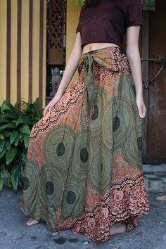 Breezy Boho Maxi Skirt Bohemian Clothing Gypsy Skirt Boho Chic Brown Rose One Size Fits Olive Green Asymmetric hem design Flower Bohemian Skirt Gypsy hippie style bloom One Size Fits Maxi Skirt Boho, Bohemian Skirt, Gypsy Skirt, Boho Dress, Boho Chic, Bohemian Gypsy, Bohemian Outfit, Bohemian Dresses, Mode Gipsy