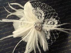 Ivory Bridal Fascinator Vintage Lace Feathers by kathyjohnson3, $42.00