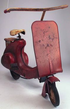 (Rare Vintage 1950's Garton Super Sonda Red Pedal Car Scooter (according to data I found, but are not sure)