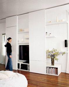 gorgeous 40 Graceful Hidden Tv Storage Design Ideas To Try Asap Wooden Sliding Doors, Sliding Panels, Sliding Wall, Ceiling Storage, Wall Storage, Record Storage, Wall Shelving, Shelves, Hidden Storage