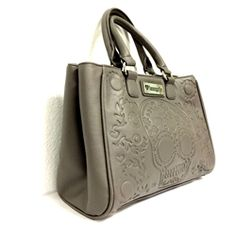 Loungefly Grey Embossed Skull Tote