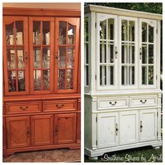 Before & After China Cabinet Transformation with Annie Sloan Chalk Paint.