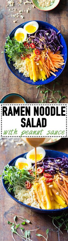A 20-minute lunch break in winter calls for Ramen Noodle Salad with Peanut Sauce! Warm ramen noodles that need only 4 minutes of cooking, crunchy veggies, an egg, and the most delicious Peanut Sauce EVER! via @greenhealthycoo