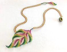 with Fran Griffith Saturday November 2019 - - Classes - Classes - Frond necklace - with Fran Griffith Saturday November 2019 - - Charisma Beads Ltd Seed Bead Necklace, Seed Bead Jewelry, Bead Jewellery, Jewelry Necklaces, Beaded Necklace Patterns, Beading Patterns, Beaded Bracelets, Bead Embroidery Jewelry, Beaded Embroidery