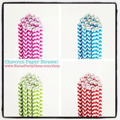 CHEVRON paper STRAWS!! So cute! Available in all colors in Kara's Party Shop! www.KarasPartyIdeas.com/shop #chevron #paper #straws #party #supplies #ideas