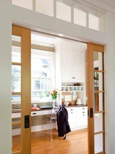 Enchanting French Pocket Doors for Interior: Outstanding Interior French Glass Pocket Door With Window Glass And Klismos Chair ~ moupp.com Interior Design Inspiration