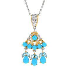 160-557 - Gems en Vogue Sleeping Beauty Turquoise & Swiss Blue Topaz Pendant w/ Chain