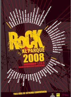 afiche rock al parque 2008 Concorde, Austin Tv, Mexico Chile, Broadway, Brazil, Festivals, France, Parks, Colombia