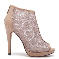 Peep-toe ankle boots in beige colour, with high heel, floral lace and taupe strap at the front.