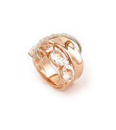 Ring in white and rose gold with diamonds and translucent quartz.