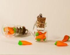 Polymer clay kawaii earrings carrot bottle jar miniature