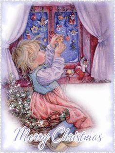 Christmas - Glitter Animations - Snow Animations - Animated images - Page 21 Christmas Scenes, Christmas Pictures, Christmas Art, All Things Christmas, Winter Christmas, Christmas Glitter, Christmas Illustration, Cute Illustration, Vintage Christmas Cards