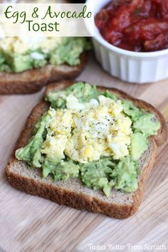 Egg and Avocado Toast (try it with salsa or hot sauce on top!) Recipe on MyRecipeMagic.com #healthysnack #breakfast #brunch #eggs #avocado