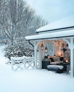What a gorgeous winter wonderland oasis!A beautiful image and design by Pool Garden, Outdoor Rooms, Outdoor Decor, Winter Scenery, Online Furniture Stores, Furniture Shopping, Snow Scenes, Winter Pictures, Diy Patio