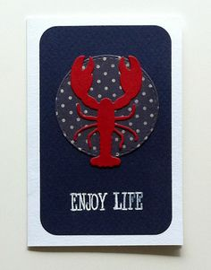 tag card seaside beach summer nautical Tag with Lobster - nautisk maritim tag til og fra kort med hummer #lobster - JKE
