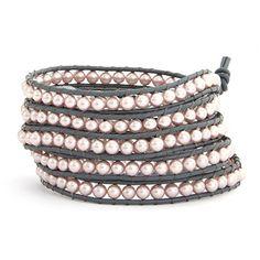 Chen Rai Five Row Pink Pearl Wrap Bracelet