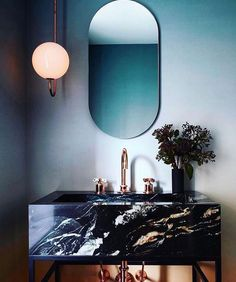 Modern art deco style mirror in bathroom with black marble vanity and sink. Ultra modern and chic Bathroom Inspiration, Interior Inspiration, Bathroom Ideas, Mirror Bathroom, Bathroom Vanities, Mirror For Bedroom, Art Deco Bathroom, Light Bedroom, Bathroom Wall Lights