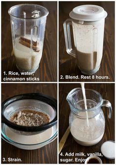 Four process photos for making Horchata with text instructions including rice, water and cinnamon sticks in a blender, blended, strained, and poured into a pitcher. Mexican Horchata, Mexican Drinks, Mexican Dishes, Mexican Food Recipes, Dessert Recipes, Mexican Appetizers, Drink Recipes, Mexican Desserts, Recipes