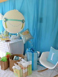 Blue Sky Hot Air Balloon Themed Fantasy Boy Baby Shower