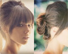 updo with blunt fringe and medium straight extension clip on