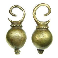 Dayak Brass Round Spinning Top Ear Weights (€25) found on Polyvore