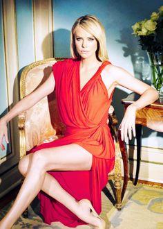 Gorgeous orange fold dress on Charlize Theron
