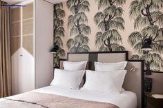 House of Hackney Wallpaper in Hotel Doisy Etoile **** - Paris Hotel Inspired Bedroom, House Of Hackney Wallpaper, Sweet Home, Dark Interiors, Dream Bedroom, Bed Pillows, Hotels, Art Deco, Interior Design