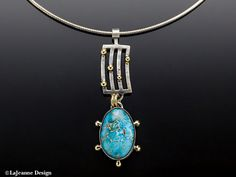 Galaxy Ithaca Peak Turquoise & 18K Gold Sterling by LaJeanneDesign