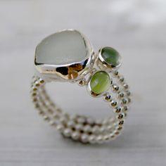 hawaiian sea glass ring | Sea Glass Stacking Rings Sterling Silver Hawaii Hawaiian