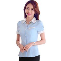 e06535152b Aliexpress.com  Comprar 2015 nueva moda mujeres del desgaste del trabajo  formal de manga corta camisa de verano para mujer slim plus size tops  ocasional ...