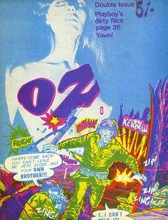 UK Oz no 8 Magazine Cover, designed by Jon Goodchild and Virginia Clive-Smith, 1968