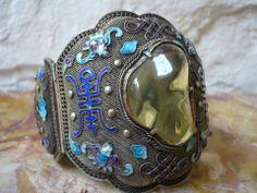 Chinese filigree silver, enamel and amber bracelet, c. 1930s