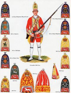 """bantarleton: """"British grenadiers and foot guards as they appeared early to mid 18th century. Open each image in a new tab for a better view. """""""
