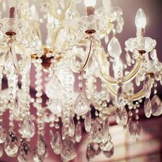 chandeliers and dusty rose