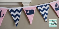 Nautical Bunting in Pink and Navy with chevron, whales, anchors, sailboat, starfish by LooDeLoop, starting at $15.00